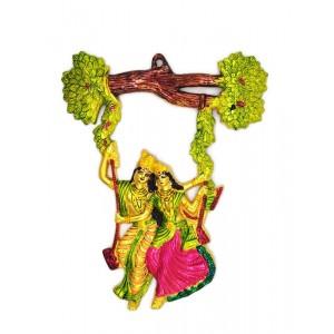 Beautiful Radha Krishna Metal Statue For Wall Decoration